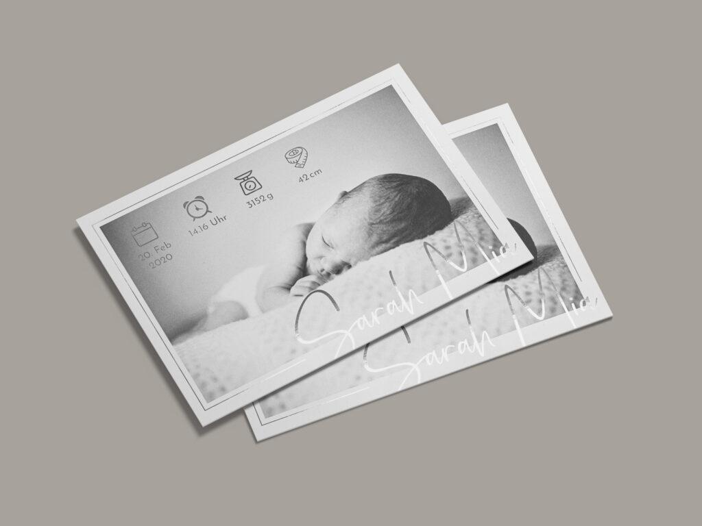 Schlüssel Druck, Geburtskarte, Metallic-Effekt, Silberkarte