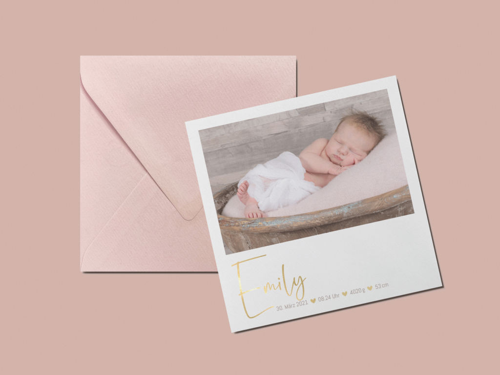 Geburtskarte, Goldfolienprägung, Goldfolie, Kuverts, Kuverts adressieren