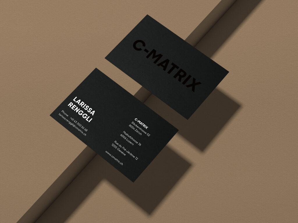 C-Matrix, Visitenkarten, Effektlack, Weissdruck, Schwarze Visitenkarten